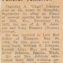 Chandler Allen Johnson - Newspaper Death Notice